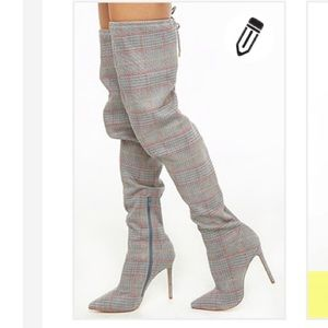 Shoes - Plaid over the knee boots NWT